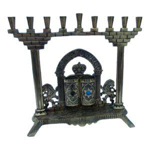 Antique Brass Menorah Israel Lion Torah