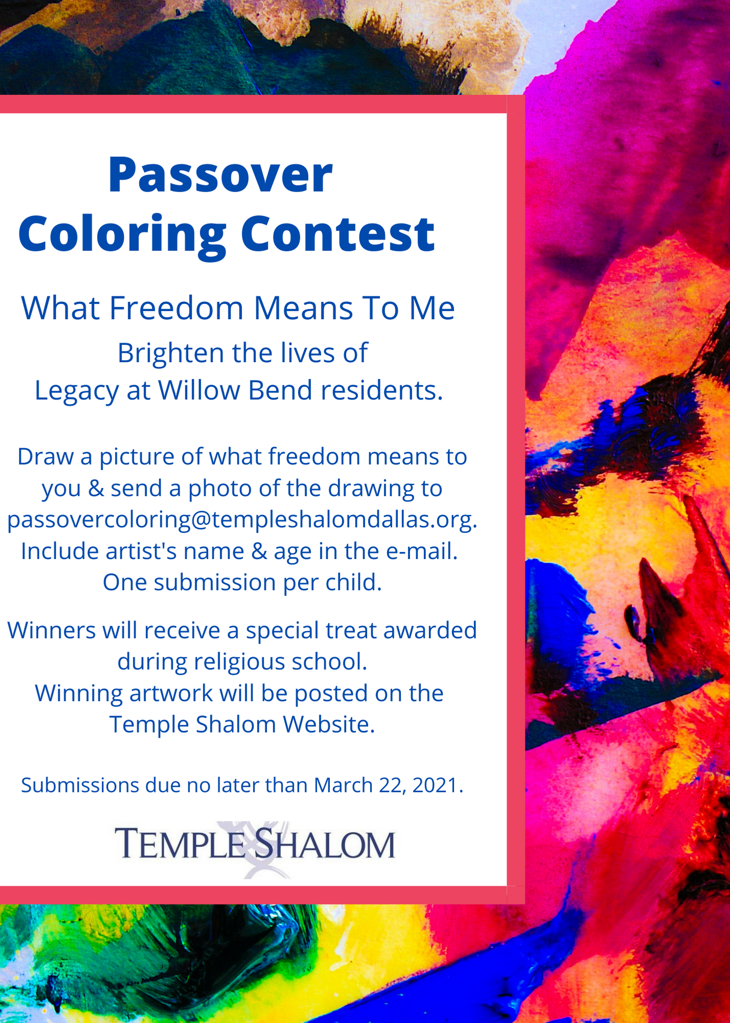 Passover Coloring Contest 2021 Flyer 1 15 2021